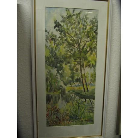 obraz Stromy kolem říčky sig.H.Stočková
