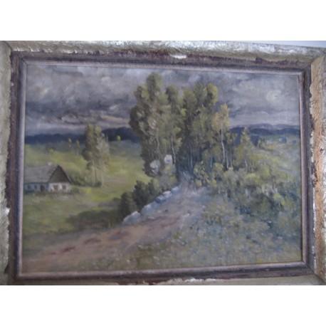obraz Krajina s chaloupkou sig.Beníček